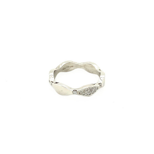 White gold wave ring with diamond 14 krt * new