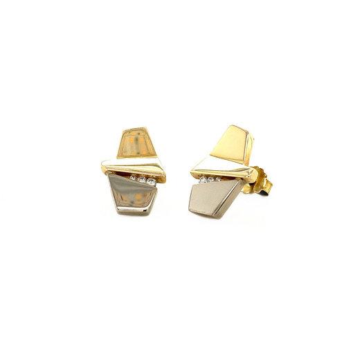 Gouden oorstekers met diamant 14 krt* nieuw