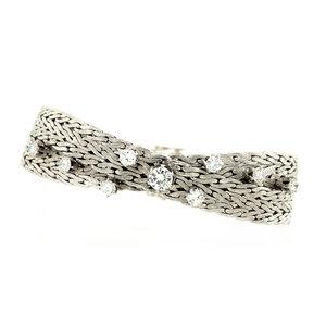 Witgouden gevlochten armband met diamant 14 krt