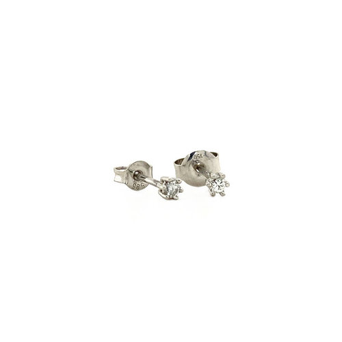 White gold solitaire ear studs with diamond 18 krt * new