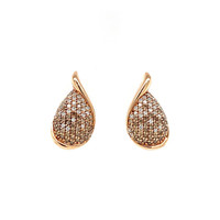 Rose gold ear studs with diamond 14 krt * new