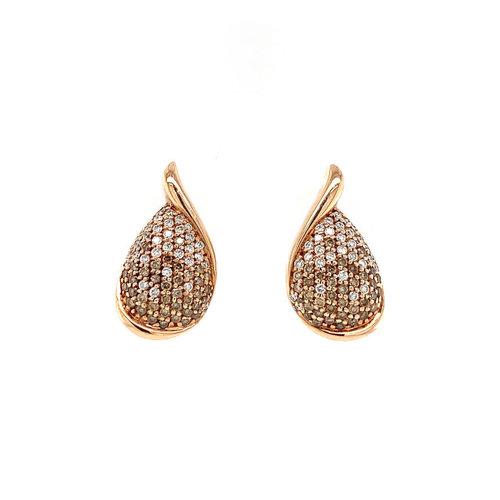 Rosegouden oorstekers met diamant 14 krt* nieuw