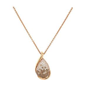 Rosegouden collier met diamant hanger 14 krt* nieuw