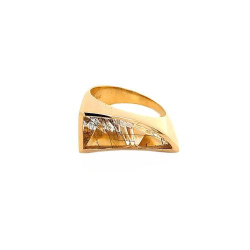 Rosegouden ring met toermalijn quartz 18 krt* nieuw
