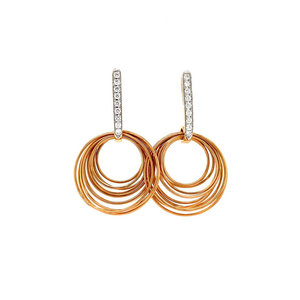 Rose gold ear studs with diamond 18 krt * new