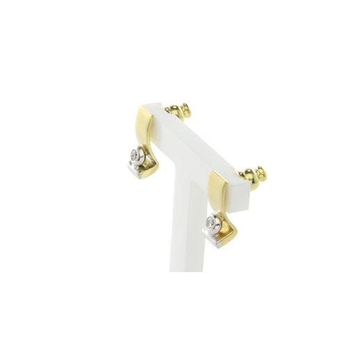 Bicolour Gold Ohrstecker mit Diamant 18 krt