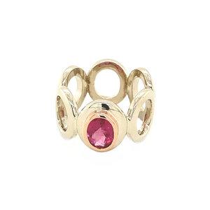 Witgouden ring met roze toermalijn 14 krt