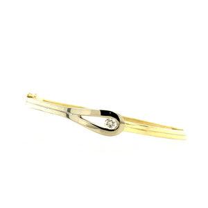 Gold slave bracelet with diamond 14 krt