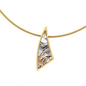 Rosegouden hanger met toermalijn quartz 18 krt* nieuw