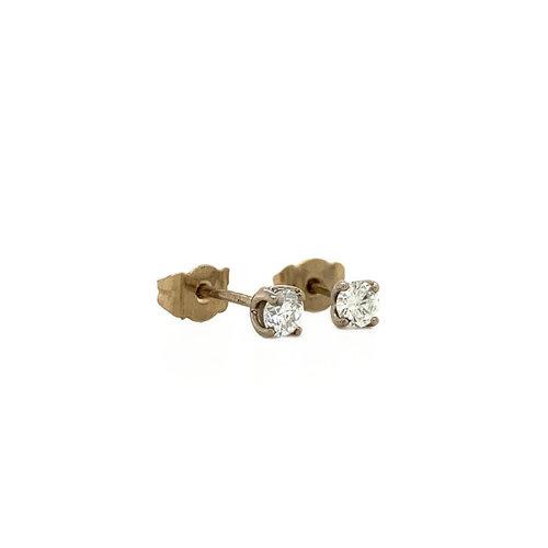 Witgouden solitair oorstekers met diamant 18 krt* nieuw