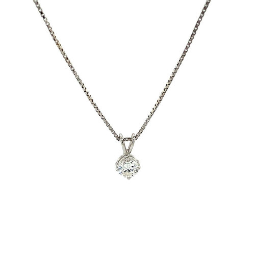 White gold solitaire pendant with diamond 14 krt