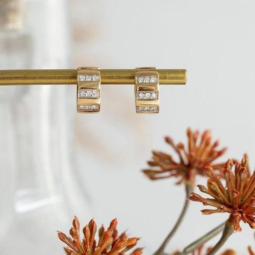 Faltohrringe aus Gold mit Diamant 18 krt
