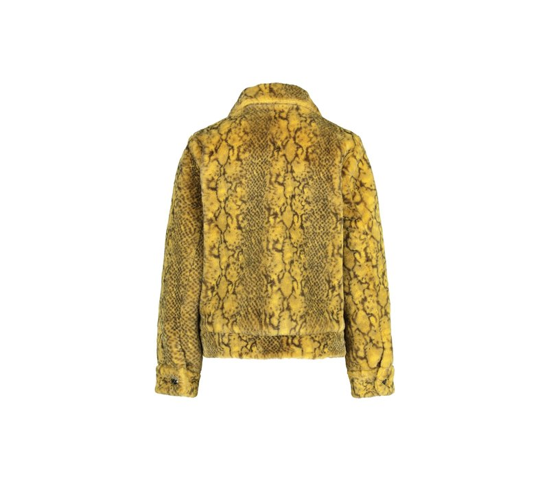 Mimi Coat - Yellow Snake Print