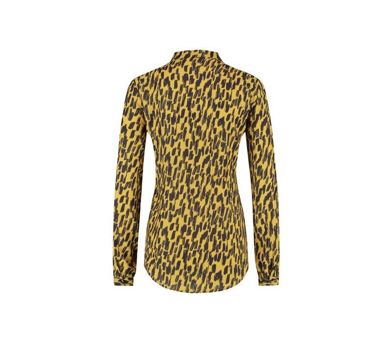 Belle Blouse - Yellow Animal Print