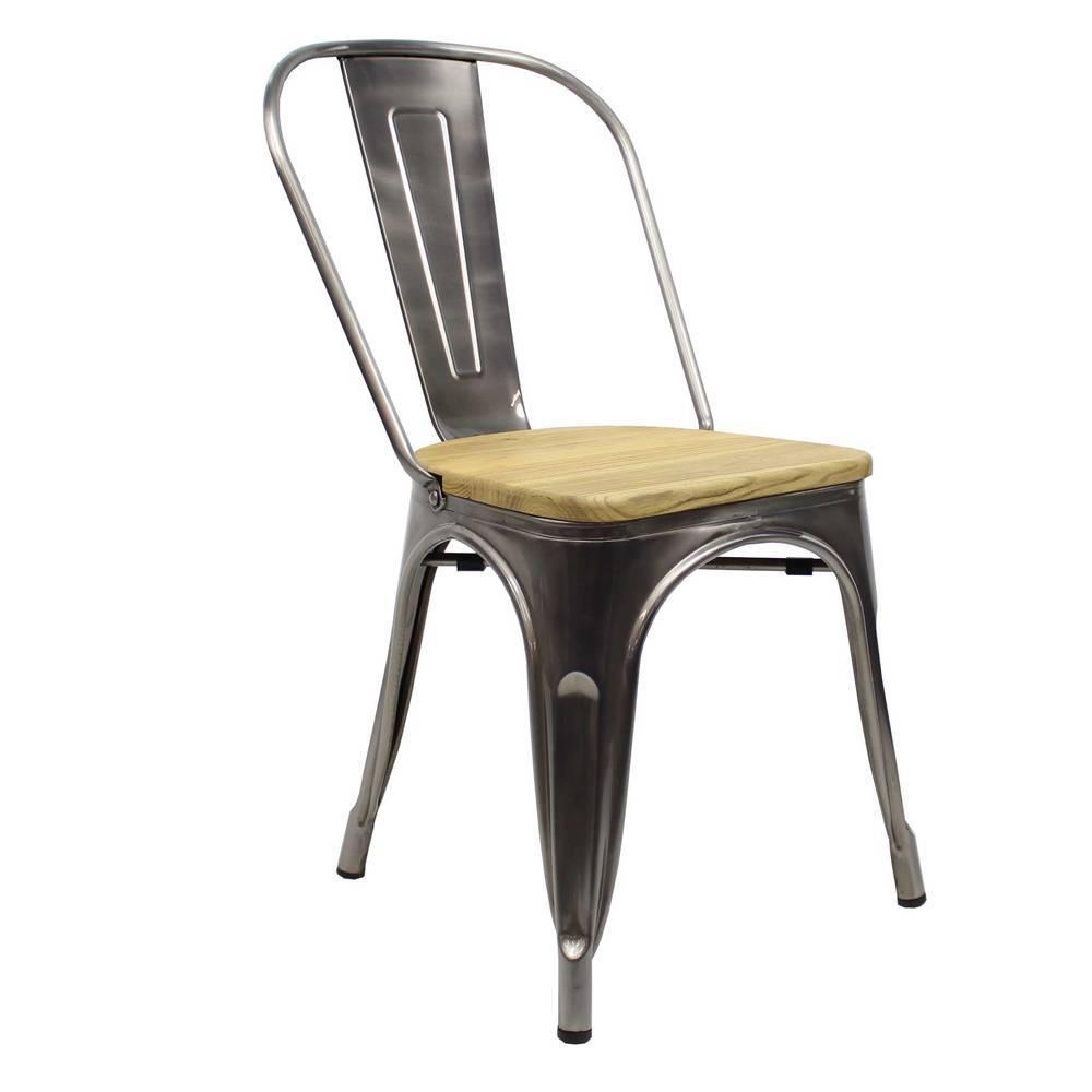 Chaise Bois Et Metal Industriel chaise tolix métal assise en bois - expédié dans les 24 heures!