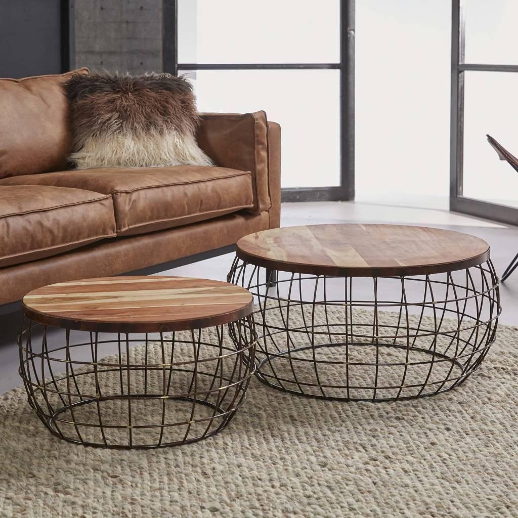 Grande Table Basse Bois table basse bloomonplateau/cadre en bois - expédié dans les 24 heures!