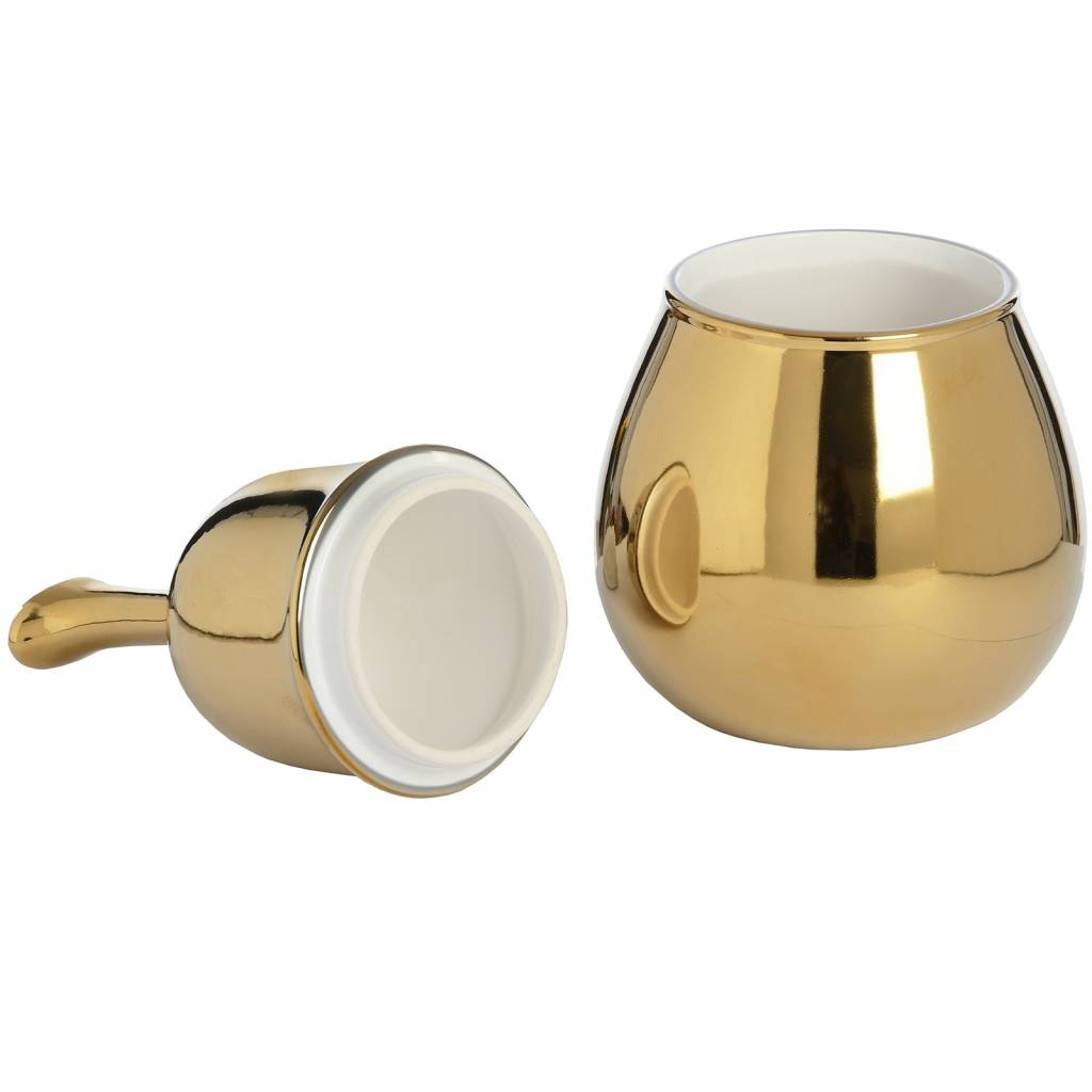 Hill Interiors Pear Shaped Trinket Box In Gold Finish