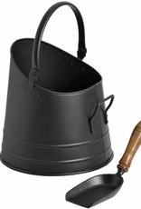 Hill Interiors Black Coal Bucket with Teak Handle Shovel