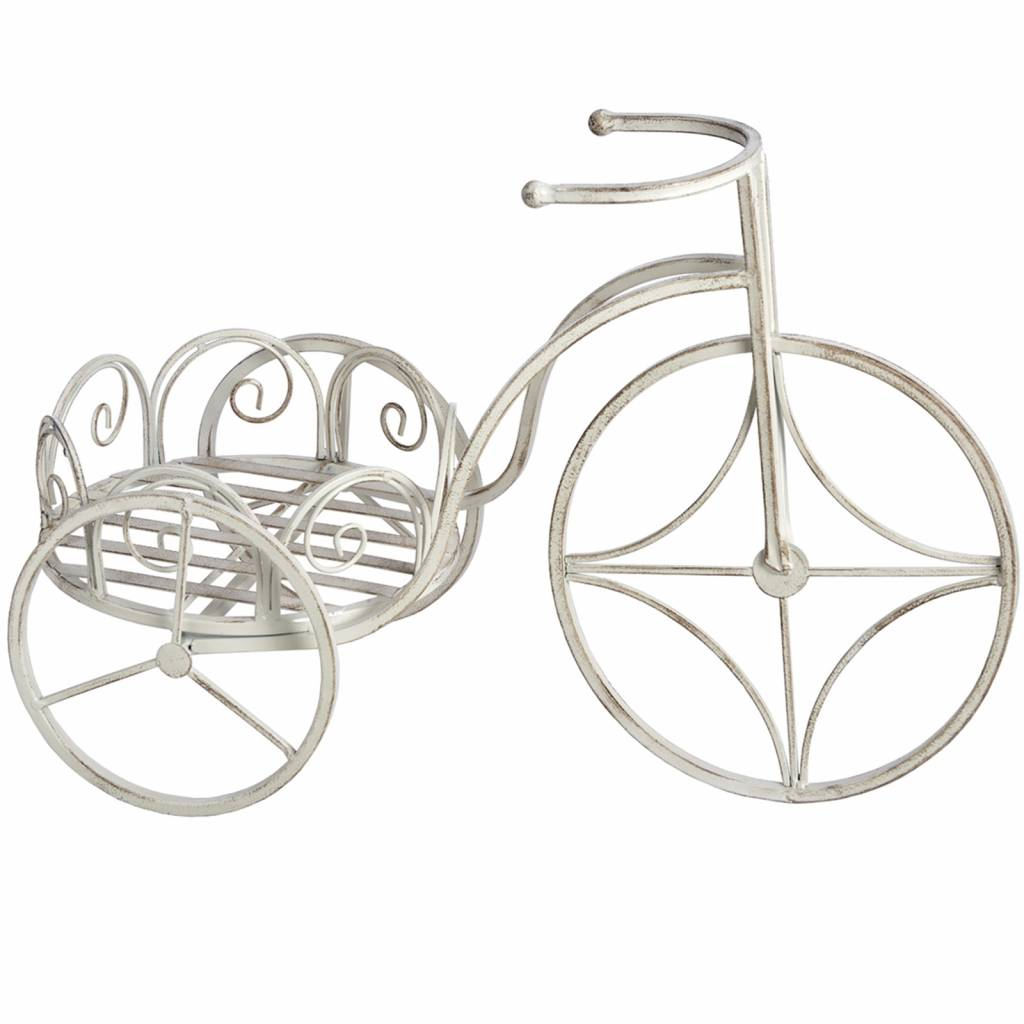 Hill Interiors Antique White Bicycle Planter