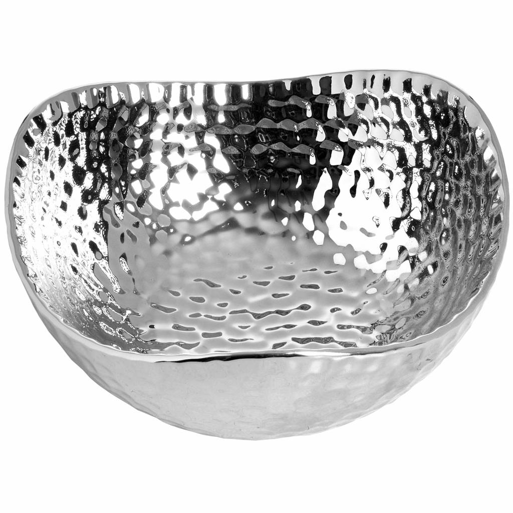 Hill Interiors Silver Ceramic Dimple Effect Display Bowl - Small
