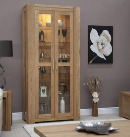 HomestyleGB Trend Oak 2 Door Glass Display Unit