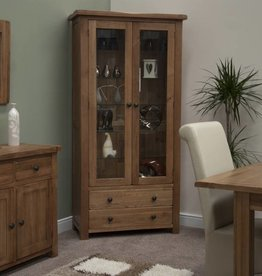 Rustic Oak Glass Display Unit