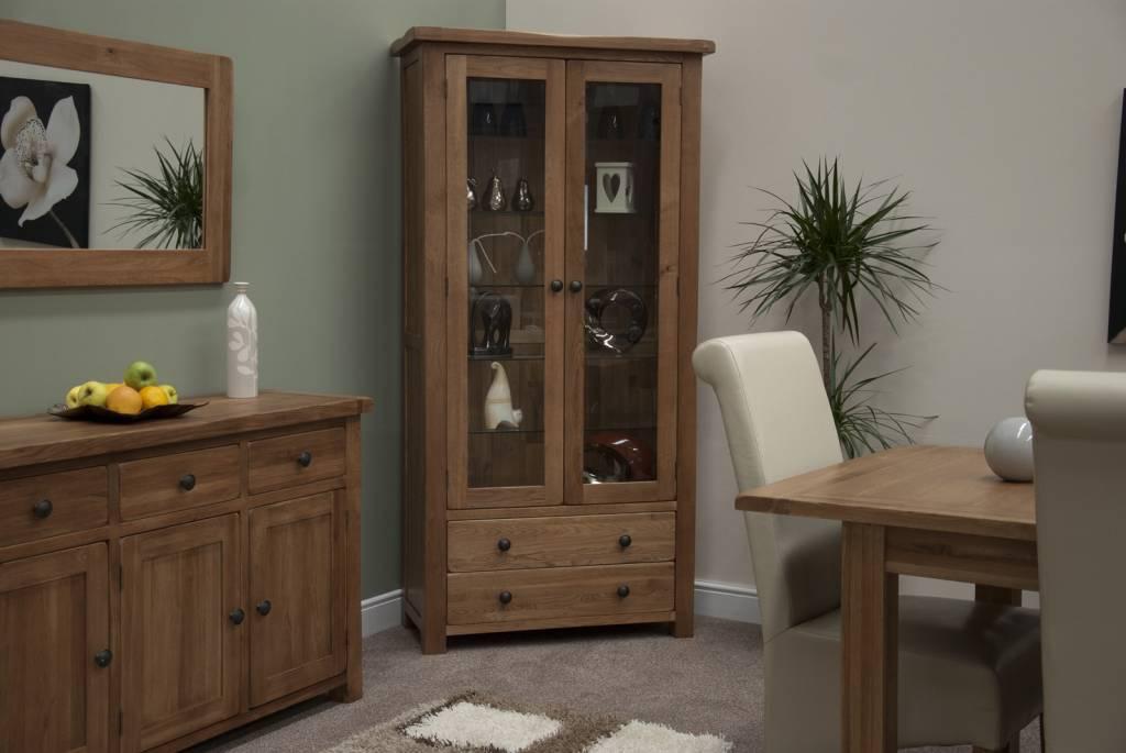 HomestyleGB Rustic Oak Glass Display Unit