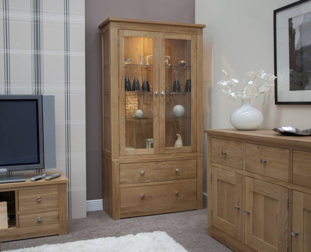HomestyleGB Torino Oak Glass Display Unit