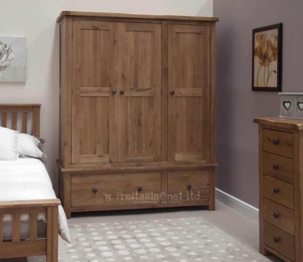 HomestyleGB Rustic Oak Triple Wardrobe