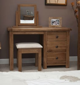 HomestyleGB Rustic Oak Dressing Table & Stool