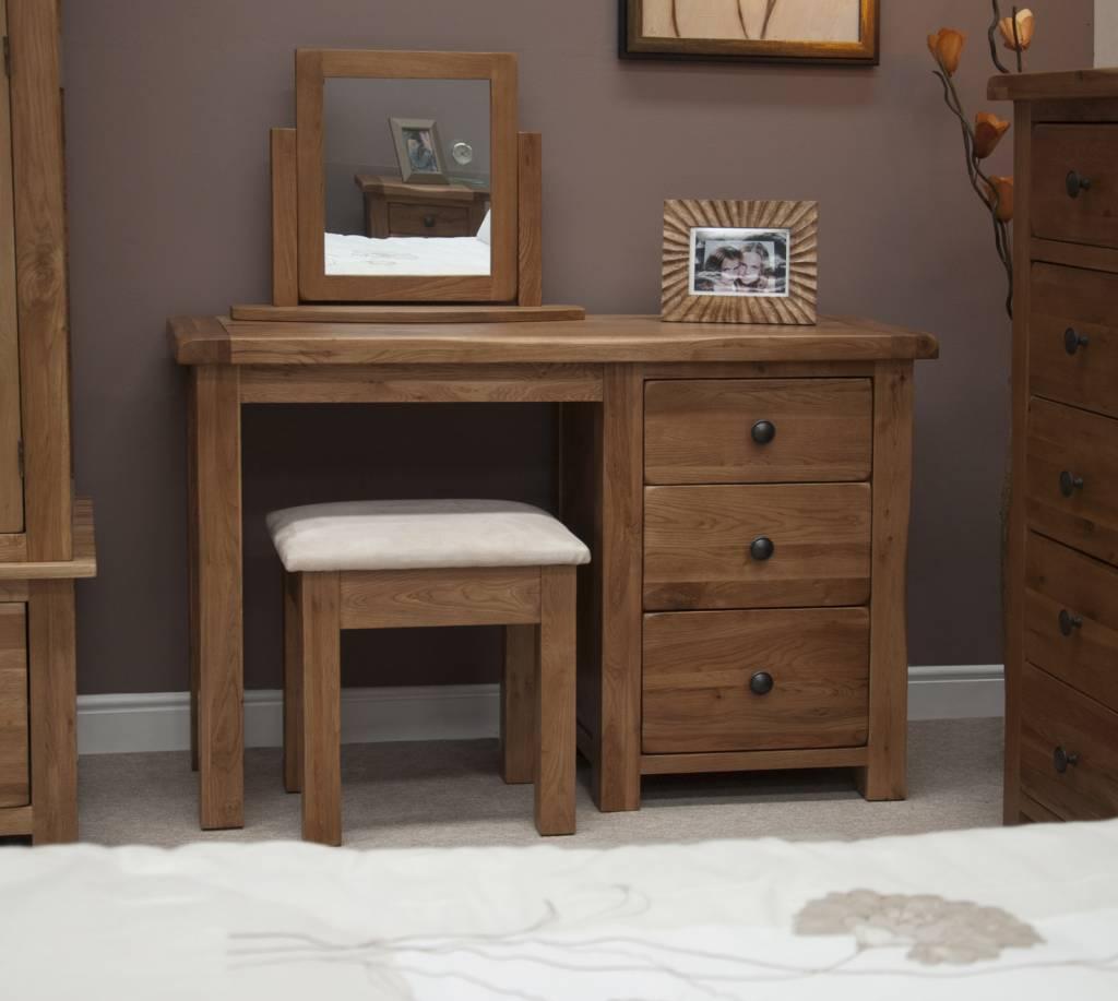 HomestyleGB Rustic Oak Dressing Table & Stool