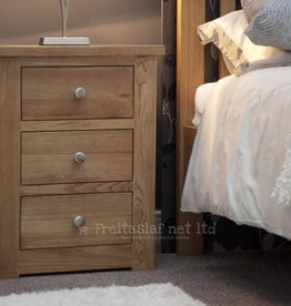 HomestyleGB Torino Oak Narrow 3 Drawer Bedside