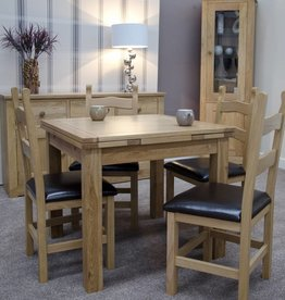 HomestyleGB Small Draw Leaf Oak Extending Dining Table