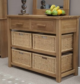 Opus Oak Basket Console Table