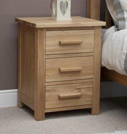 Opus Oak 3 Drawer Bedside