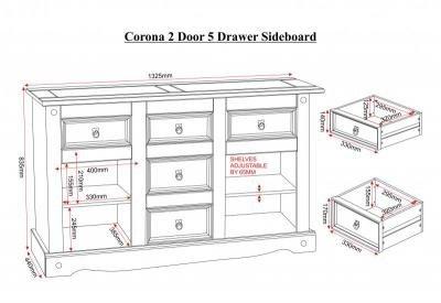 Corona 2 Door 5 Drawer Sideboard