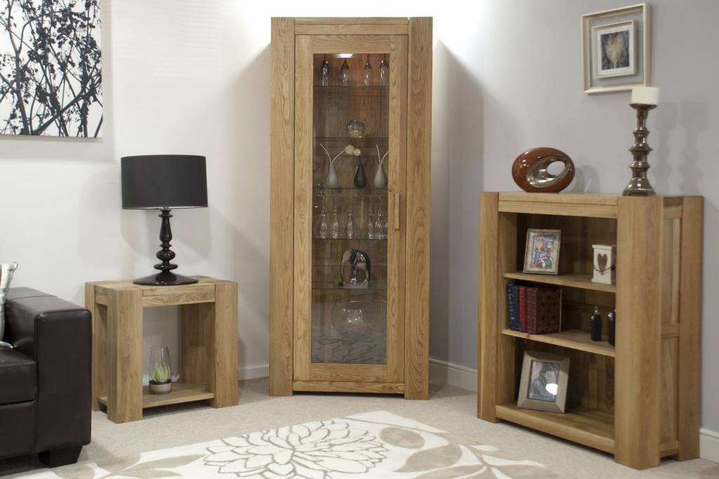 Trend Oak 1 Door Display Cabinet