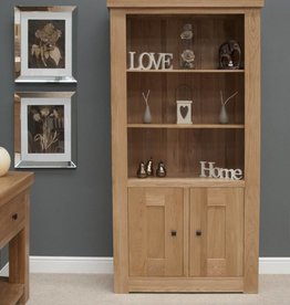 Bordeaux Solid Oak 2 Door Bookcase