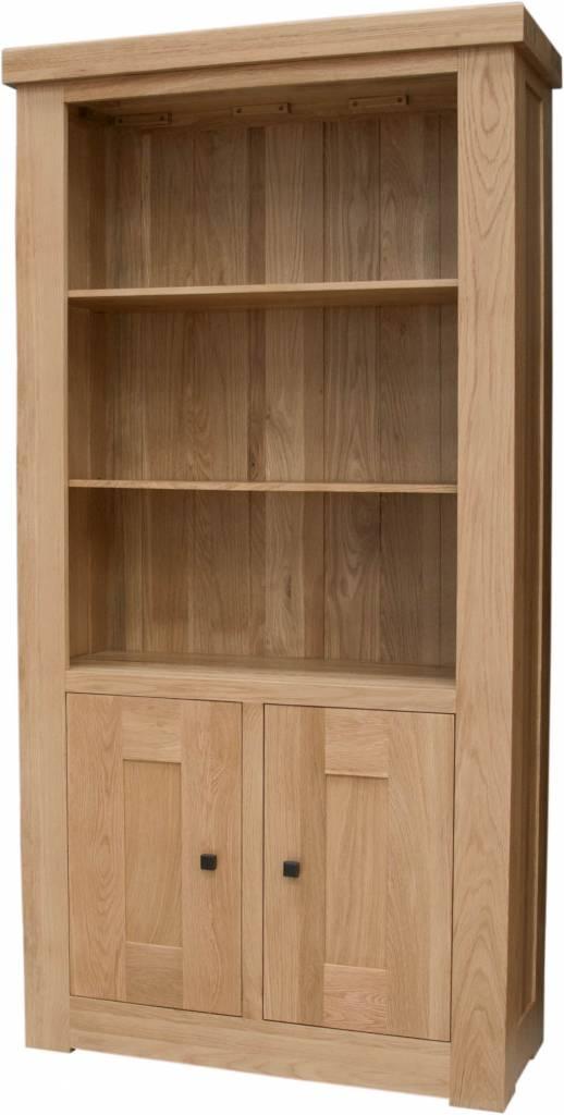 Bordeaux Solid Oak 2 Door Bookcase