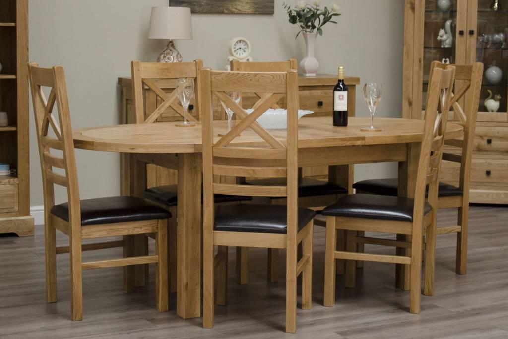 HomestyleGB Deluxe Oak Oval Extending Table