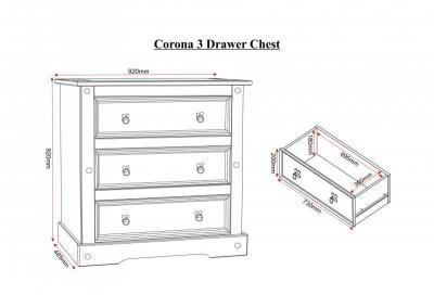 Corona 3 Drawer Chest