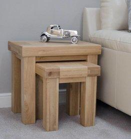 HomestyleGB Bordeaux Solid Oak Nest of Tables
