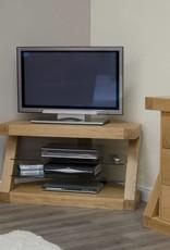 HomestyleGB Z Designer Solid Oak Corner TV Unit