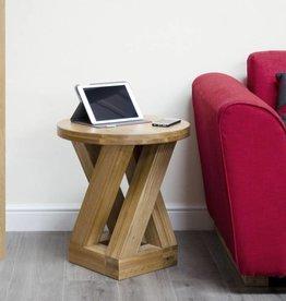 Z Designer Solid Oak  Round Lamp Table