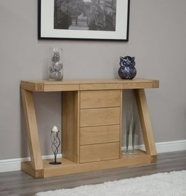 Z Designer Solid Oak Large Console Table