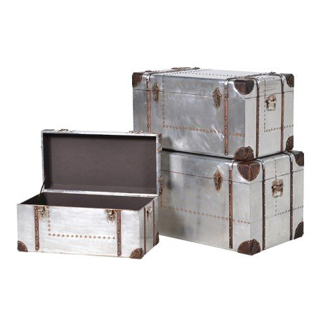 Set of 3 Silver Trunks with Straps
