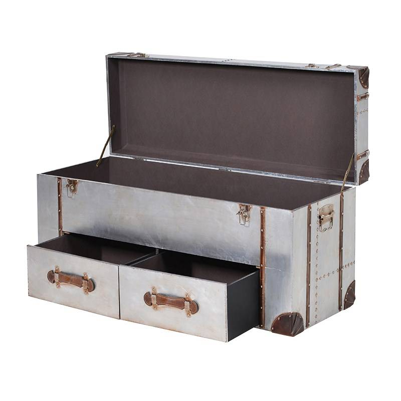 Silver 2 Drawer Trunk with Straps