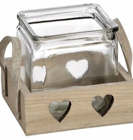 Hill Interiors Wooden Heart Design Tea Light Holder