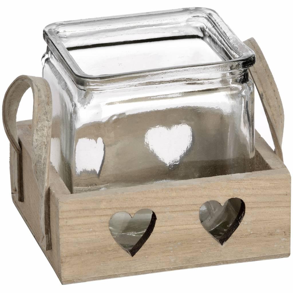 Hill Interiors Wooden Heart Design Tea Light Holder
