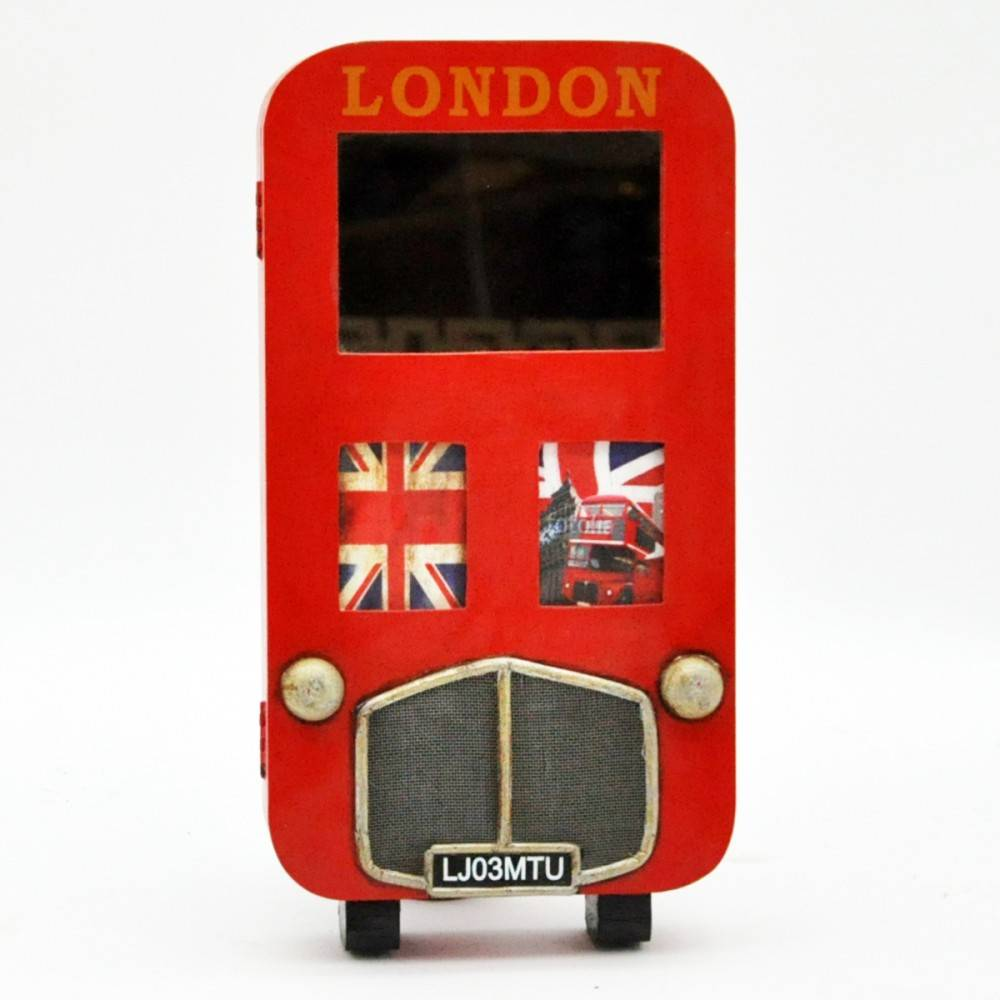 London Bus Wooden Key Box With Mirror